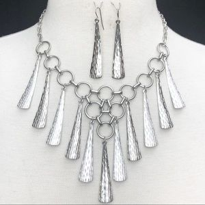Dramatic Cascading Silver Necklace Earrings Set